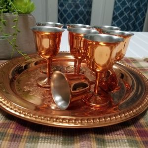 Tray and cordial cup set
